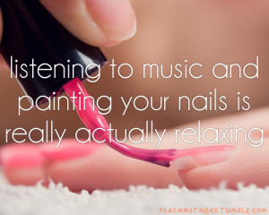 listening, music, nail polish, nails, paint, painting, relaxing