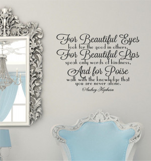 ... eyes Audrey Hepburn Vinyl Decor Wall Lettering Words Quotes Decal art