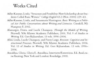 Example of a list of citations. A Works Cited page.