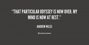 """That particular odyssey is now over. My mind is now at rest."""""""