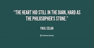 The heart hid still in the dark, hard as the Philosopher's Stone ...