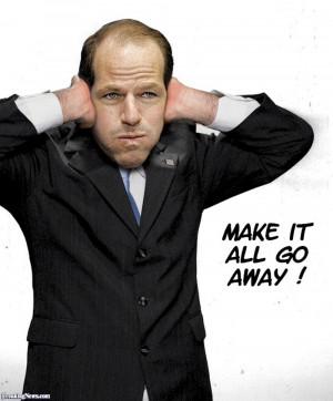 Eliot Spitzer Blocking his Ears