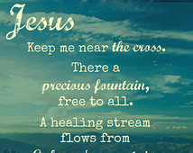 Fanny Crosby quote, mountain background.