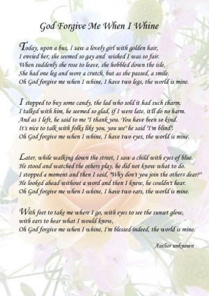 Poems On Forgiveness From God | God Forgive Me When I Whine - Author ...
