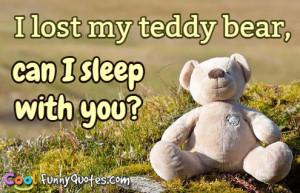 lost my teddy bear, can I sleep with you?