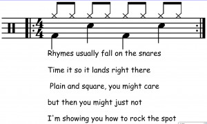 The end rhymes all come on the final snare. Here you see that I rhymed ...