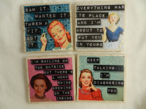 Stone Drink Coasters Womens Funny Quotes Entertaining Barware