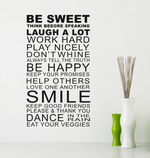 Be-Sweet-Smile-Quote-Family-Rules-Wall-Art-Stickers-Words-Home-Decor ...