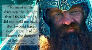 Gimli to Legolas, The Fellowship of the Ring, Book II, Farewell to ...