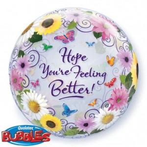Qualatex Bubble Ballon Hope You're Feeling Better Flower