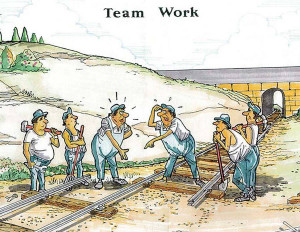 Funny team work poster: Building the railroad