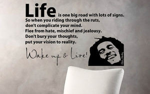 BOB MARLEY WAKE UP AND LIVE Wall Art / Vinyl Decal Sticker QUOTES ...