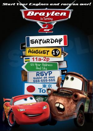 Disney Pixar Cars Lightning Mcqueen Mater Birthday Party Invitations