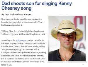 Dad Shoots Son for Singing Kenny Chesney Song