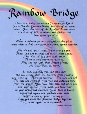 ... Rainbow bridge rainbow bridge poem, rainbow bridge poem printable