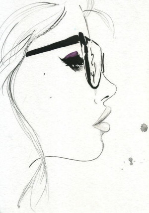 Girl with glasses drawing:-)