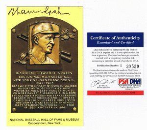 WARREN SPAHN AUTOGRAPH GOLD HALL OF FAME POST CARD PSA . $54.99. THIS