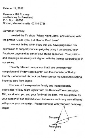 ... Night Lights Creator Peter Berg Accuses Mitt Romney of Plagiarism