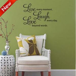 Laugh Love Wall Art Sayings 50*70cm DIY Fashion Wall Art Home 3D Wall ...