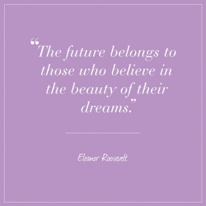 Eleanor Roosevelt quote on Radiant Orchid card: The future belongs to ...