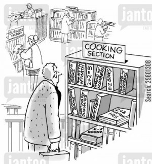... cartoon humor: Maths books in the cooking section of a library