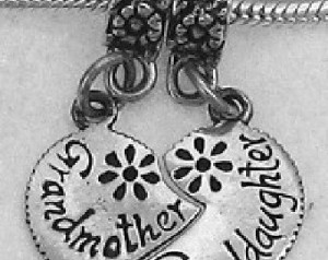 Grandmother/Granddaughter Heart Bead Charm .