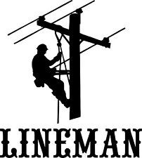 Lineman Electrician Power Woker Man Car Truck Window Laptop Vinyl ...