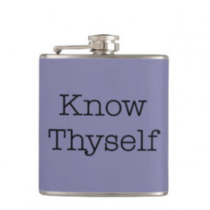 Purple Know Thyself Quotes Inspirational Quote Hip Flasks