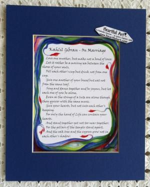 ON MARRIAGE Kahlil Gibran 8x10 Inspirational Words Wedding Gift ...