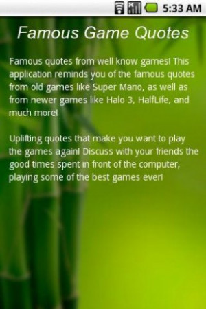 View bigger - Famous Game Quotes for Android screenshot