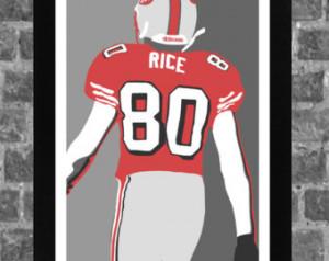 San Francisco 49ers Jerry Rice Port rait Sports Print Art 11x17 ...