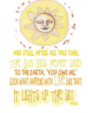 Whimsical Sun Illustration Illustration With Inspiring Hafiz Love ...