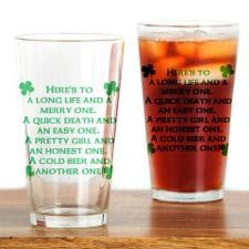 Cold Beer Irish Quote Drinking Glass