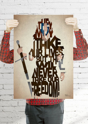 William Wallace typography print based on a quote by 17thandOak, £3 ...