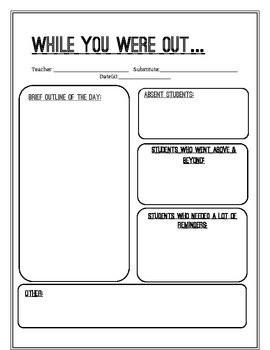 Substitute Teacher Report Form– good idea to leave for teacher