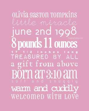 Baby Girl Quotes And Sayings 8x10 new baby girl boy birth