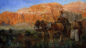 mormon pioneers in southern utah original oil painting
