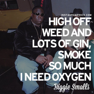 High Off Weed Biggie Smalls Quote Graphic