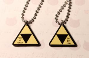 Legend of Zelda Triforce Couples Necklace Set by jennyloveskawaii