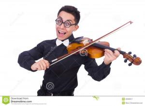 Funny Violin Player White