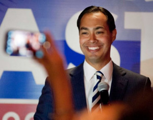San Antonio Mayor Julian Castro speaks to supporters of his twin ...
