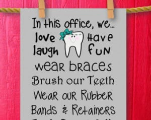 Orthodontist Gift Orthodontics Ortho Art Office Decor Brush Your Teeth ...