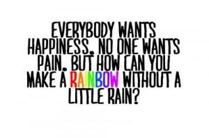 happiness, quote, rain, rainbow, sofis