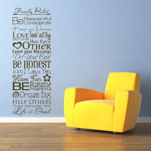 Home » Quotes » Family Rules - Quote - Sayings - Wall Decals