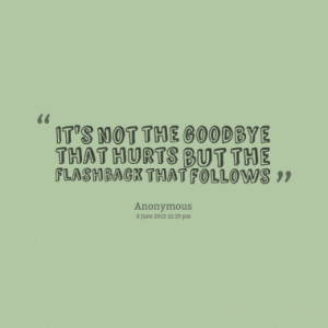 it s not the goodbye that hurts but the flashback that follows quotes ...