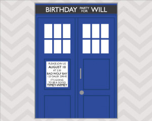 Doctor Who Birthday Card Printable Doctor who birthday invitation