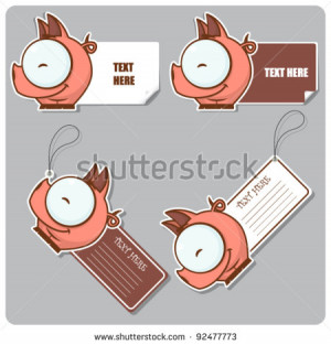 ... on Stock Vector Vector Set Of Tags And Stickers With Funny Cartoon Pig