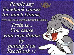 people say facebook causes too much drama the truth is that you cause ...