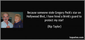 Because someone stole Gregory Peck's star on Hollywood Blvd., I have ...