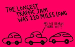 The longest traffic jam was 110 miles long